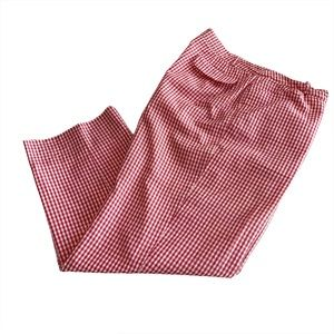 Talbots gingham crop pants Sz 14 red white pockets
